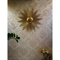 欧式铁艺家居壁饰墙上装饰品太阳花挂饰创意电视背景电表箱装饰品 金色 100*100