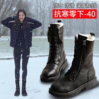 2018冬季新款学生厚底户外雪地靴女防滑保暖真皮中筒加绒防风靴子SN9447