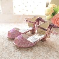 蝴蝶结水晶女童公主高跟鞋儿童学生鞋夏款牛筋底鱼嘴凉鞋