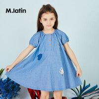 【秒杀价:129元】马拉丁童装女童短袖连衣裙夏装新款时尚印花图案洋气儿童裙子