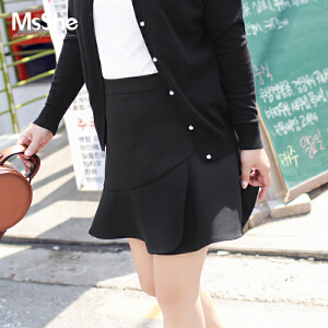 MSSHE大码女装2017新款秋装胖妹妹显瘦荷叶边半身裙短裙M1730033