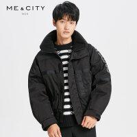 【2件1.5折价:179.9,可叠券】MECITY男装冬季廓形立领时尚短款保暖棉衣