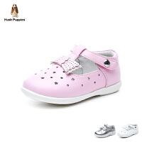 暇步士Hush Puppies童鞋18新款婴幼童皮鞋羊皮学步鞋星星镂空女童宝宝鞋女孩时装鞋 (0-4岁可选) DP93