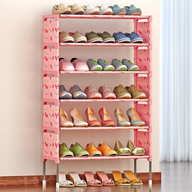 思故轩简易多层鞋架 组装防尘鞋柜简约现代经济型铁艺收纳K127加高脚加固拆一层放靴子