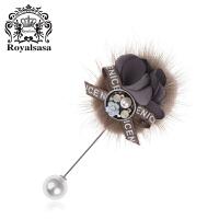 皇家莎莎胸针胸花女毛毛手工甜美布艺花朵一字插针外套别针配饰品