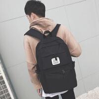 男生双肩包潮韩版高中生书包男休闲帆布中学生时尚背包日韩电脑包