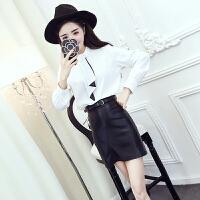 时尚气质两件套韩版春装新款系带衬衣+PU皮高腰短裙半身裙套装女