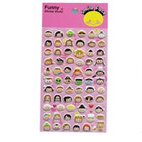 创意贴纸 立体贴纸 可爱装饰贴 泡棉贴 卡通娃娃头