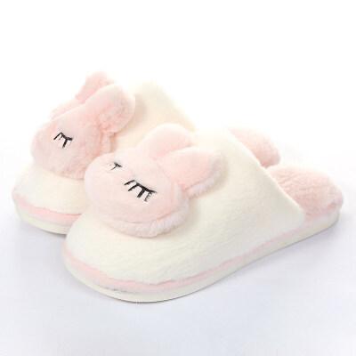 棉拖鞋女冬可爱室内情侣家居韩版保暖厚底男冬季毛毛绒卡通月子鞋