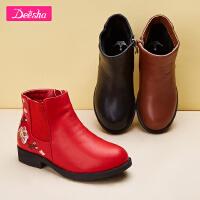 笛莎女童靴子2018冬季新款中大童可爱花朵刺绣童趣皮靴小女孩短靴