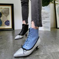 韩版春新款水钻蝴蝶结粗跟高跟鞋系带及踝靴短靴马丁靴小跟鞋女鞋