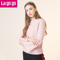 【618大促-每满100减50】Lagogo/拉谷谷2017年冬季新款时尚高领宽袖口针织衫