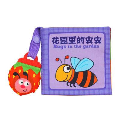 LALABABY/拉拉布书 0-2岁启智手掌书 带玩偶 内置BB器 早教布书 花园里的虫虫 带玩偶 撕不烂 可啃咬