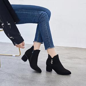 ZHR2018秋冬季新款韩版粗跟裸靴中跟单靴小跟短靴百搭学生女靴子