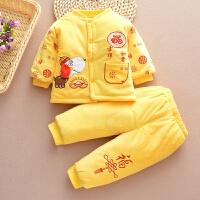 童装男童2加绒加厚棉衣套装3-4岁男宝唐装新年礼服5儿童拜年服6岁 黄色 小狗2件套