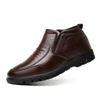 冬季加厚保暖棉鞋男士休闲高帮鞋冬天中老年爸爸鞋真皮加绒男皮鞋