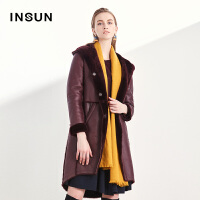 INSUN/恩裳简约大气保暖连帽中长款绵羊皮毛一体毛皮大衣外套