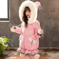 童装女童2018新款冬季棉衣外套中长款可爱甜美风加厚外套