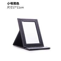 0516035110803便携镜子pu梳妆镜随身折叠镜台式化妆镜大号方形黑色