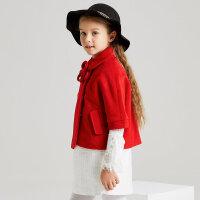 【满1000减750】米喜迪mecity童装女童红色斗篷中大童花朵胸针短款羊毛呢外套