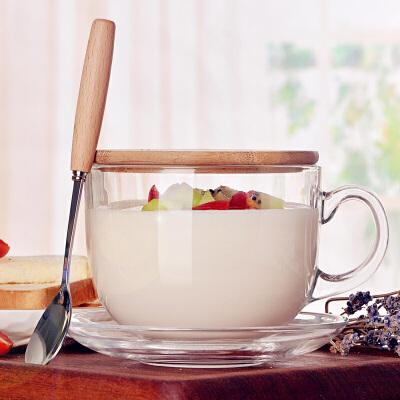 大容量水杯女带盖带勺马克杯 牛奶杯早餐杯玻璃杯麦片碗燕麦杯文艺