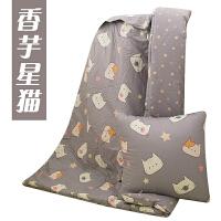全棉抱枕被子两用纯棉靠垫加大汽车办公午休被加厚可爱儿童小被子 灰色 香芋星猫