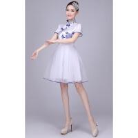 2018新款青花瓷大合唱演出服女长短裙学生新款古典舞二胡古筝表演服装