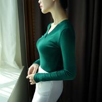 长袖T恤女V领打底衫秋冬棉修身纯色韩版大码学生上衣