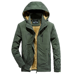 吉普盾男士秋冬加绒加厚夹克摇粒绒黄绒速干外套 可脱卸帽秋冬户外工装冲锋衣