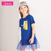 【2件3折券后�A估�r:31】笛莎童�b女童�B衣裙夏季新款中大童�和��_�y�A�I拼接�B衣裙