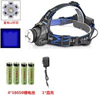 超亮LED头灯Q5强光T6充电L2钓鱼灯远射户外变焦矿灯头戴白黄蓝紫 L2蓝光4电1充