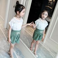 中大童夏装女童运动套装新款儿童韩版两件套女宝宝短袖衣服潮