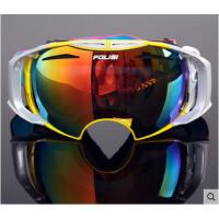 大球面眼镜时尚滑雪镜双层防雾大视野 可套近视护目镜男女款登山可换镜片