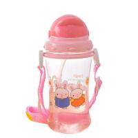 W吸管杯夏季宝宝学饮杯 学生喝水杯子幼儿园背带水壶吸管杯O