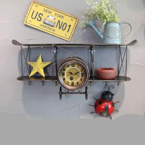 幸阁 书架置物架 创意双翼飞机钟太阳机芯 复古工业风 墙面仿古做旧铁艺壁饰钟表 装饰收纳壁挂柜