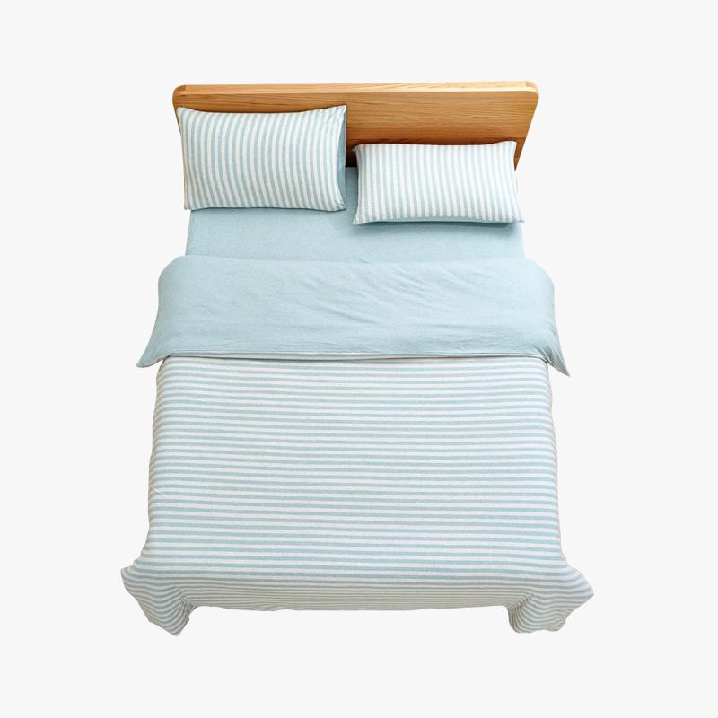 当当优品家纺 全棉日式针织床品 1.5米床 床笠四件套 条纹水蓝当当自营 MUJI制造商代工