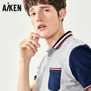 森马旗下Aiken短袖T恤男士夏装新款翻领POLO衫修身半袖体恤男休闲上衣