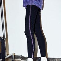 【1件3折到手价:71.7】美特斯邦威牛仔裤女新款韩版潮流时尚拼接丝绒织带牛仔裤