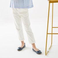 【1件2.5折叠券约:41.4,6月5日仅此一天】米喜迪mecity童装夏装新款女童袋口花边装饰梭织长裤