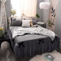 水晶绒床裙式床罩单件公主风蕾丝边加厚保暖珊瑚法兰加绒防滑床单