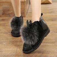 雪地靴冬季11毛毛靴平底9大童13加绒保暖棉靴12学生短靴15 16女靴