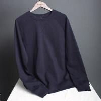 秋冬款卫衣男圆领套头 韩版宽松秋装 加绒加厚简约纯色长袖打底衫