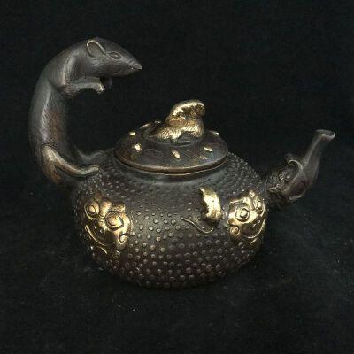 五鼠运财壶铜摆件
