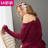 【清仓3折价71.7】Lagogo2019秋季新款纯色毛衣圆领上衣喇叭袖修身字母印花针织衫女