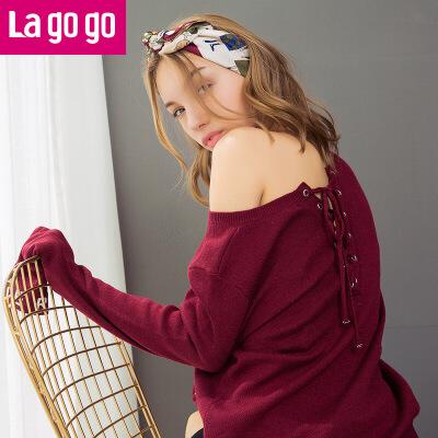 【两件5折后价114.5】Lagogo2017秋季新款纯色毛衣圆领上衣喇叭袖修身字母印花针织衫女
