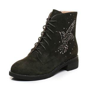 Tata/他她2017冬羊绒皮蜂鸟水钻绑带休闲靴方跟女短靴27451DD7