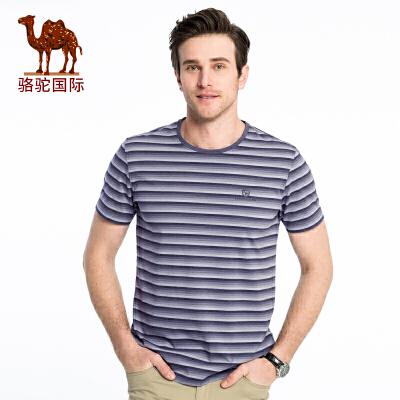 骆驼男装 2018夏季新款男青年夏装条纹休闲舒适棉质圆领短袖T恤