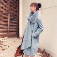 雾霾蓝色大衣女小个子毛领冬季流行学生宽松毛呢外套