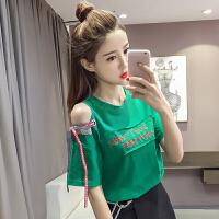 字母T恤女夏季新款韩版宽松休闲圆领系带露肩短袖上衣打底衫学生