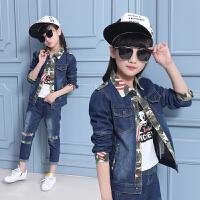 韩版童装男童牛仔套装春秋装迷彩服2018新款潮中大童女童春季新款 单件 69 T恤